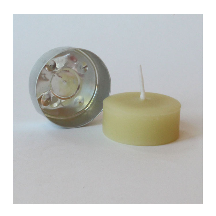 1 small pure beeswax tealight 4-5 hours of light