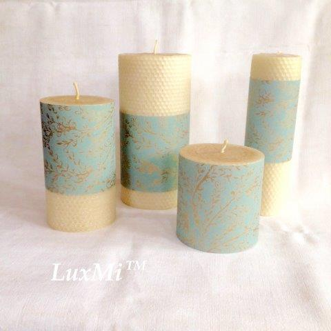 Castles - Set of Four hand-rolled pure beeswax candles -10%