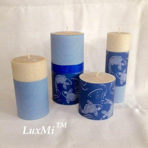 By The Sea - Set of Four hand-rolled pure beeswax candles -10%