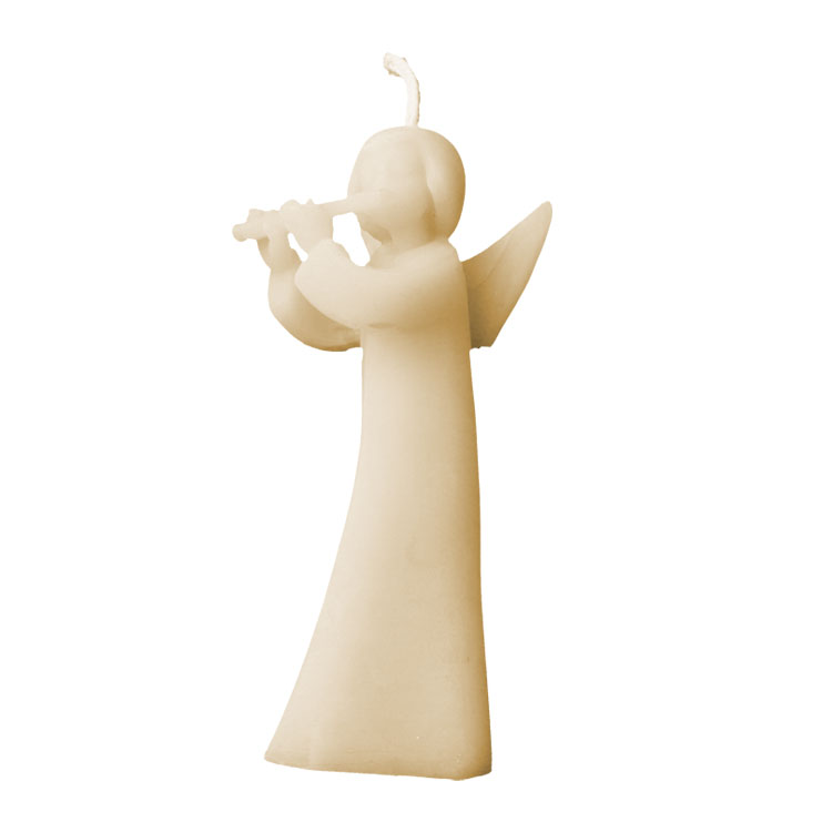 Angel with Flute - heavenly musician - pure beeswax candle - Click Image to Close