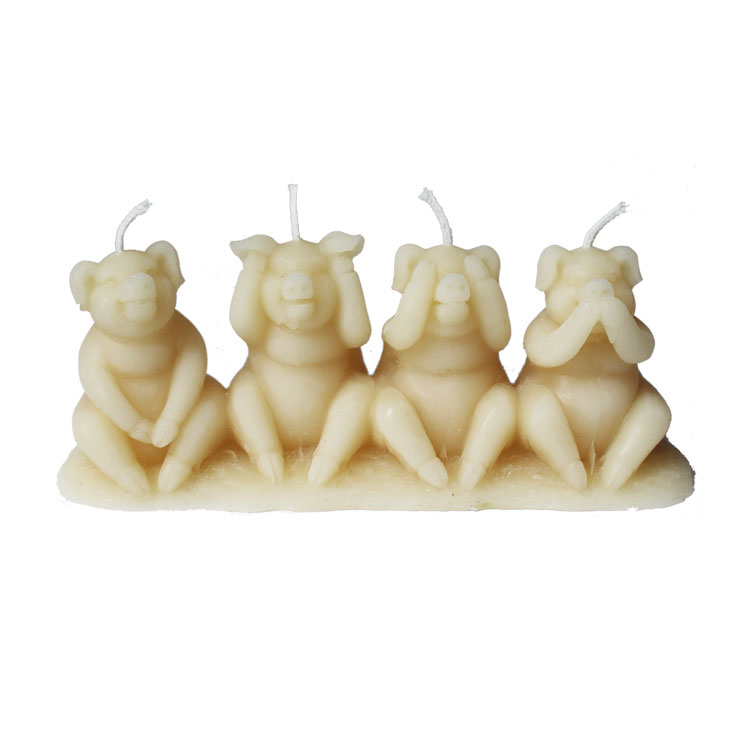 The Four Virtuous Pigs - pure beeswax candle - 4 wicks