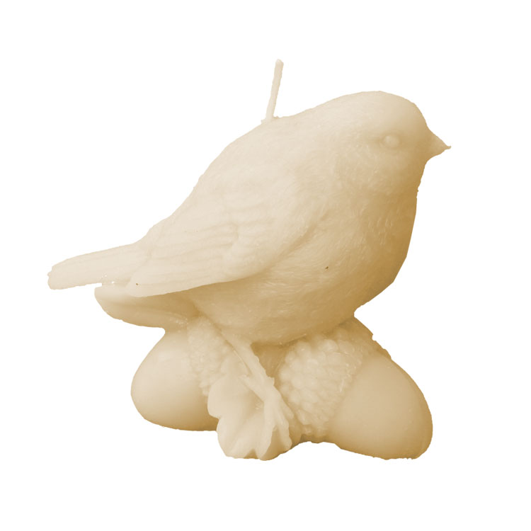 Blackbird on Acorns - pure beeswax candle