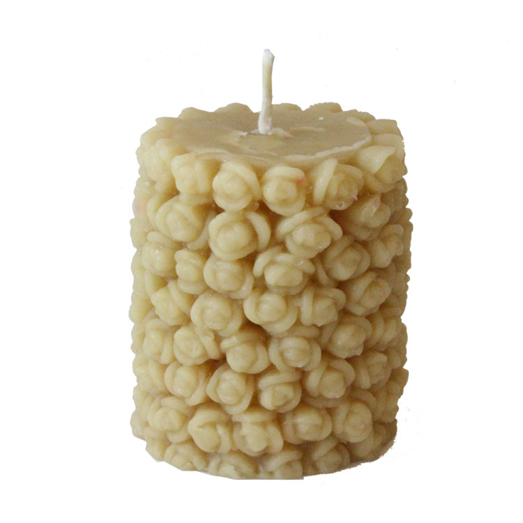 Rose Bud - hand poured, pure beeswax pillar