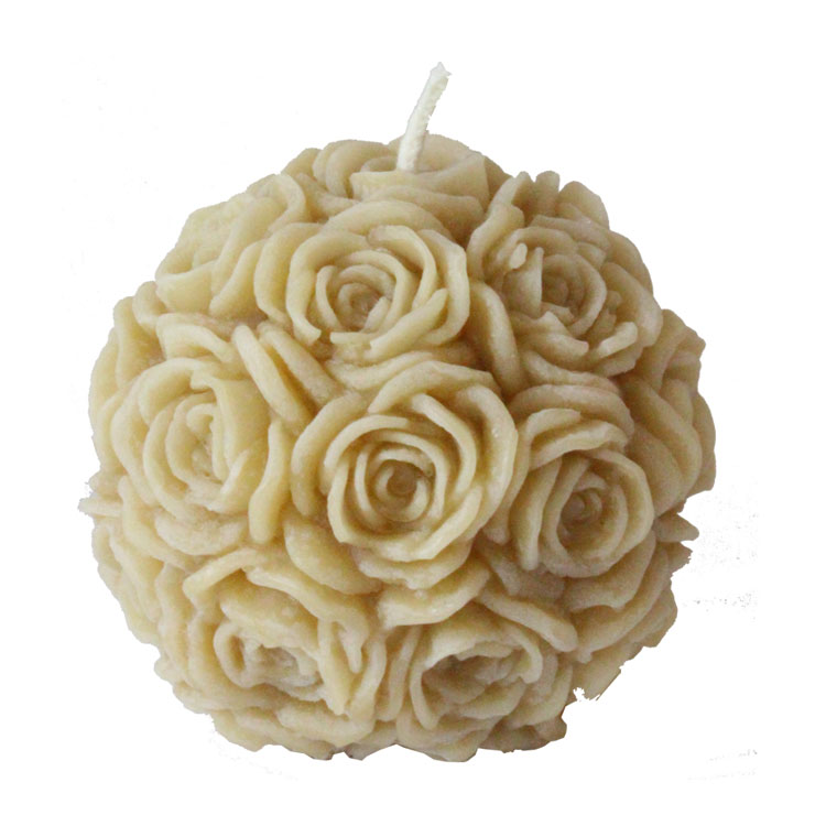 Claire - large rose ball - pure beeswax candle