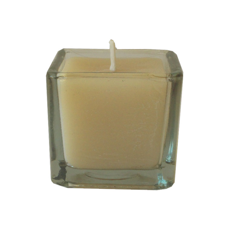 Square Beeswax Votive - in clear glass