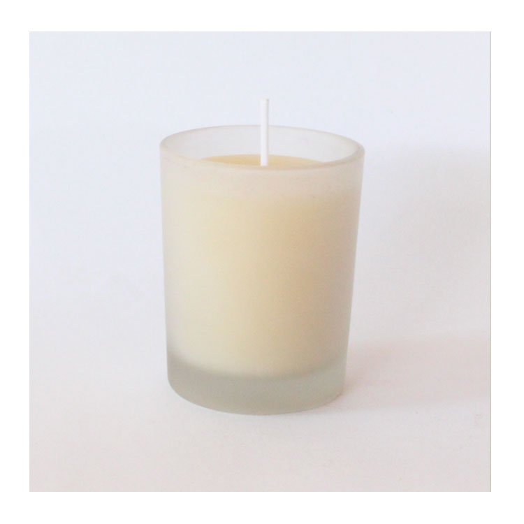Round Beeswax Votive - in frosted white glass
