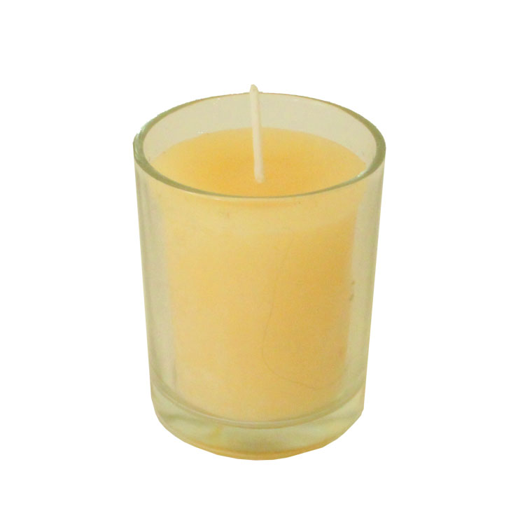 Round Beeswax Votive - in clear glass