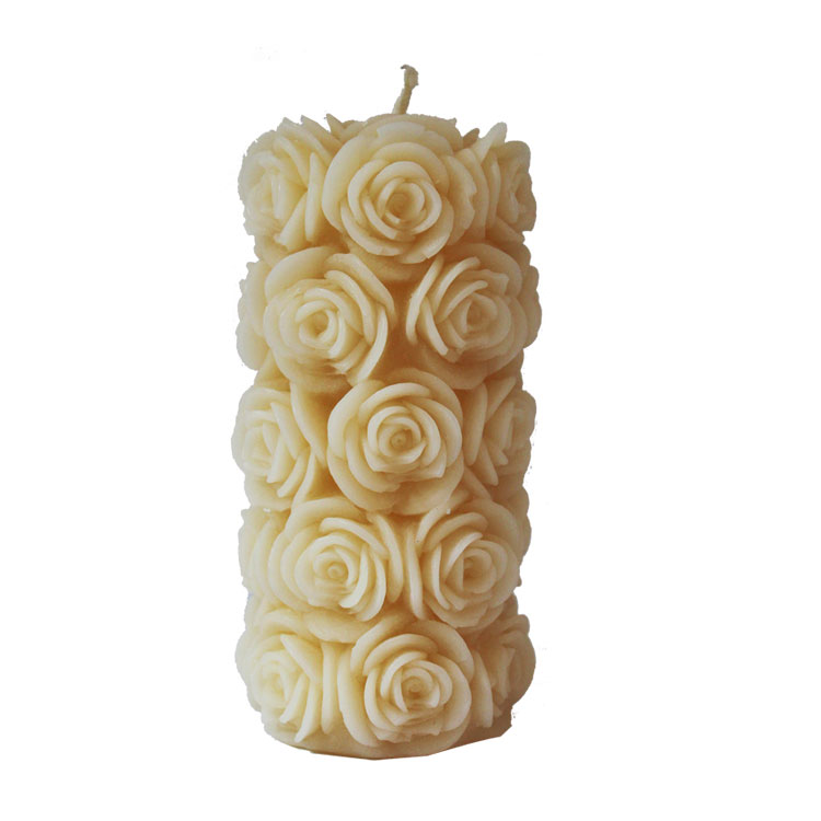 Rosalie - XL Rose Pillar - pure beeswax candle